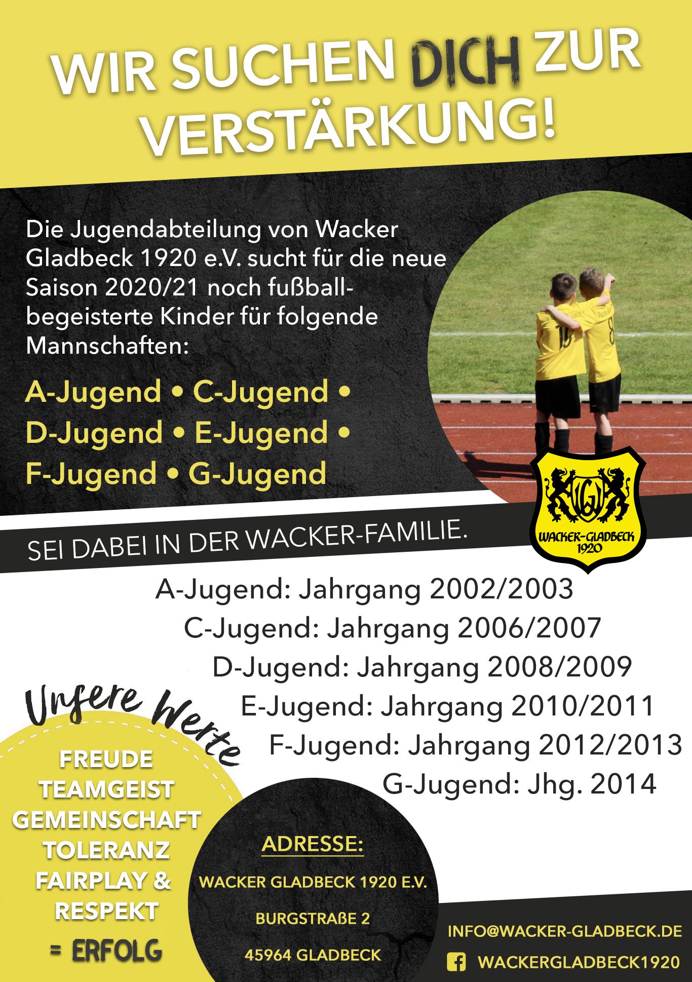 Wacker Gladbeck - Spieler gesucht - Wir suchen dich - Saison 2020/2021