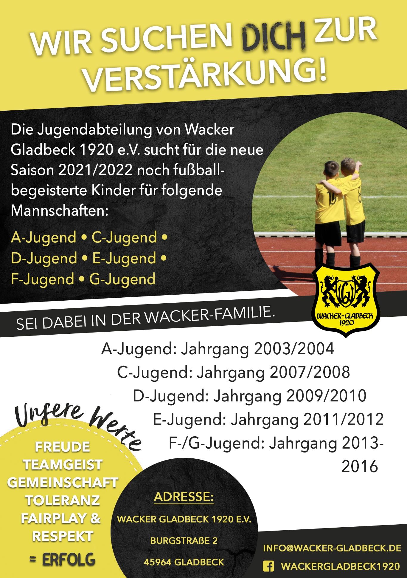 Wacker Gladbeck sucht Verstärkung für die Saison 2021/2022