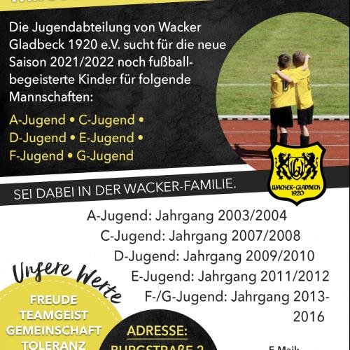 Unsere Jugendmannschaften suchen noch Verstärkung für die neue Saison 2021/2022 - Wacker Gladbeck