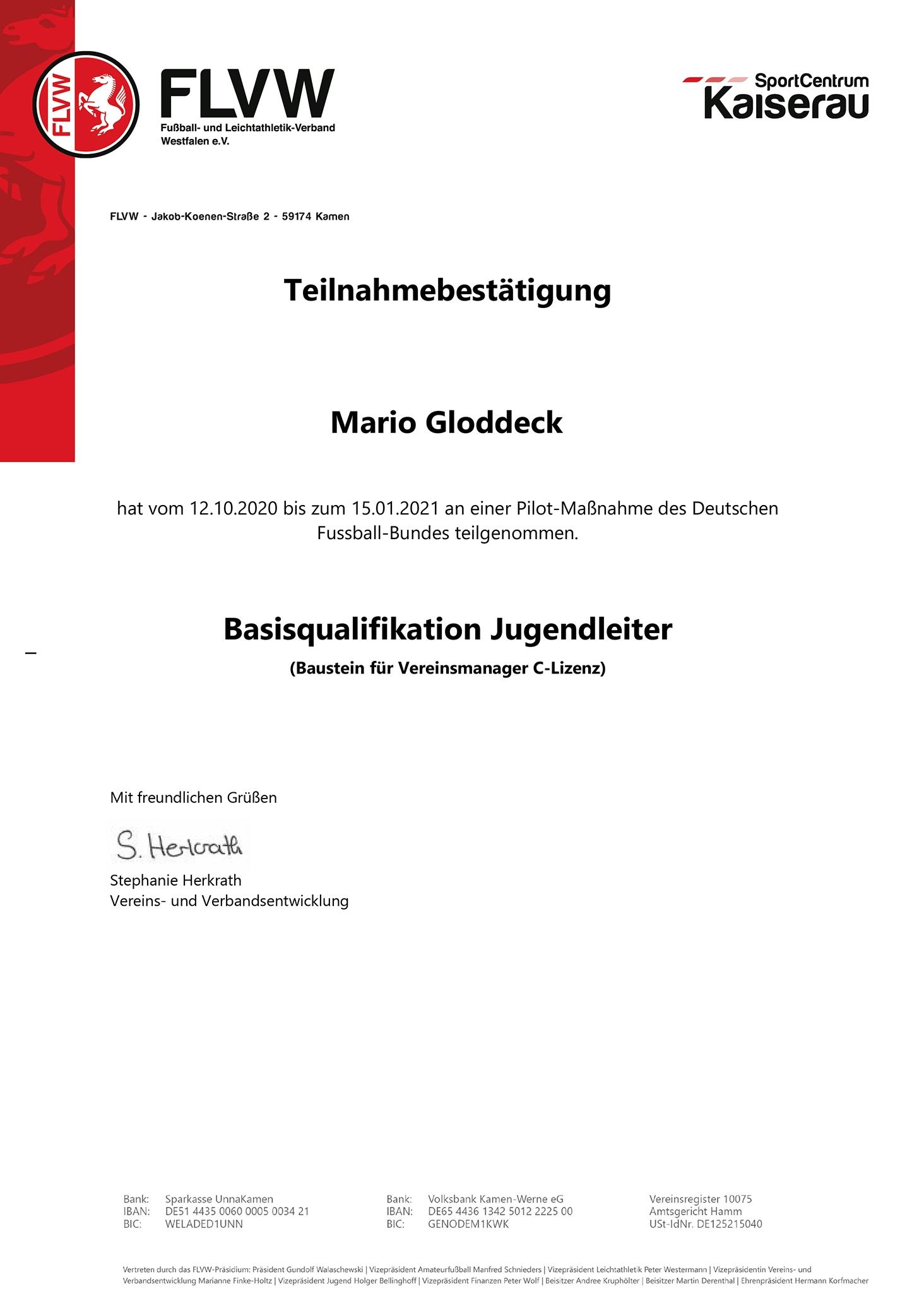 Teilnahmebestätigung Mario Gloddeck